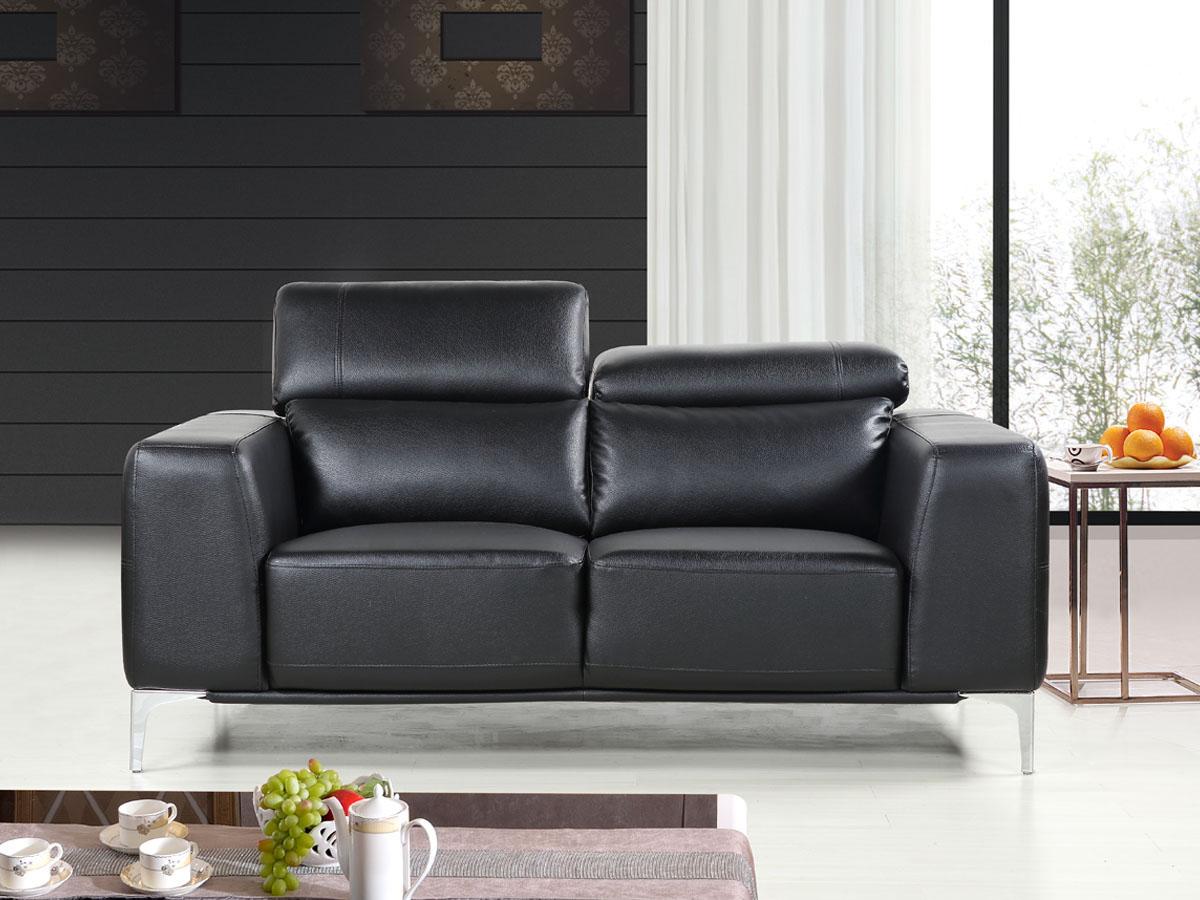 Canapé cuir reconstitué/PVC Agadir - 2 Places - Noir