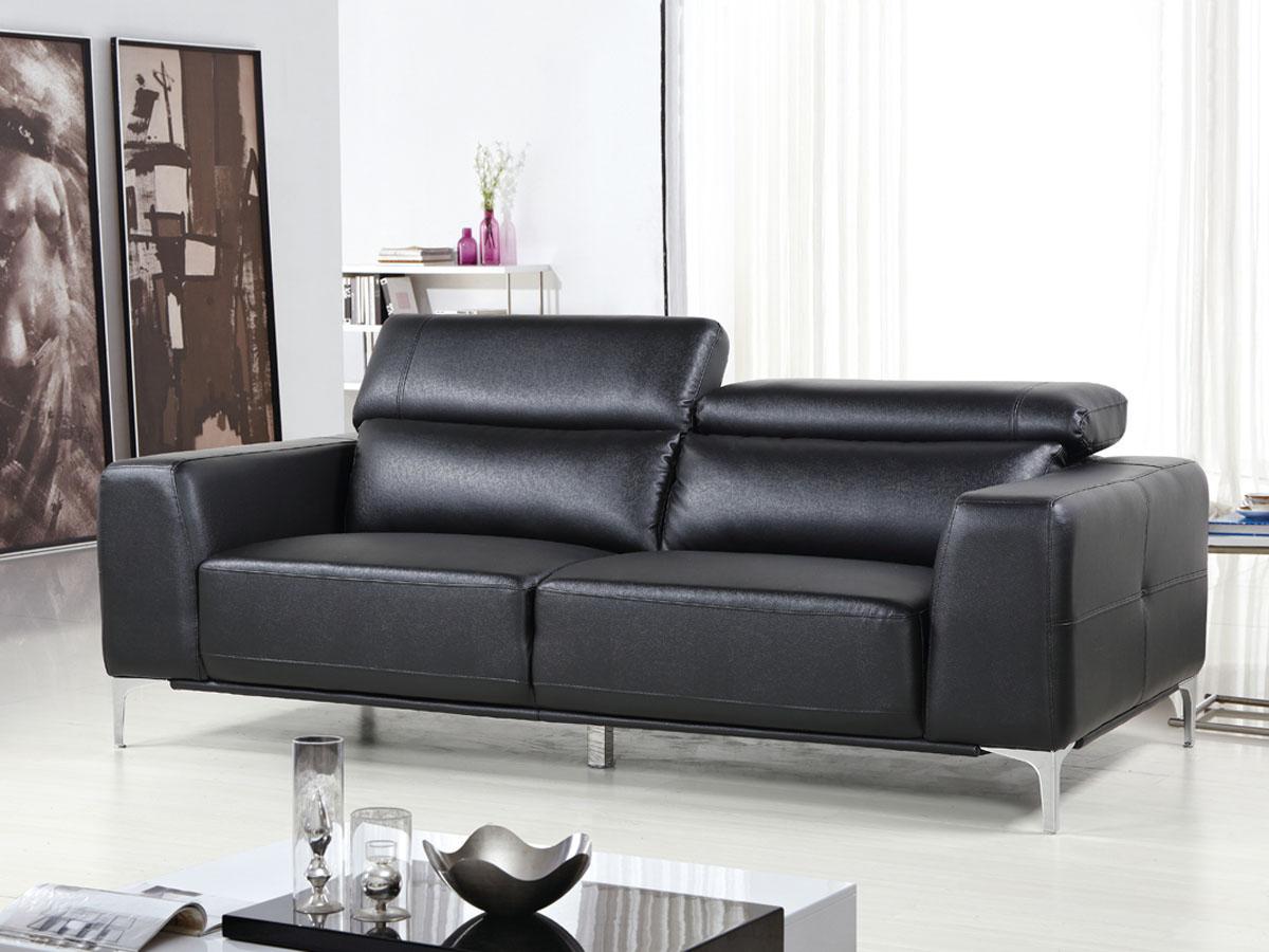 Canapé cuir reconstitué/PVC Agadir - 3 Places - Noir
