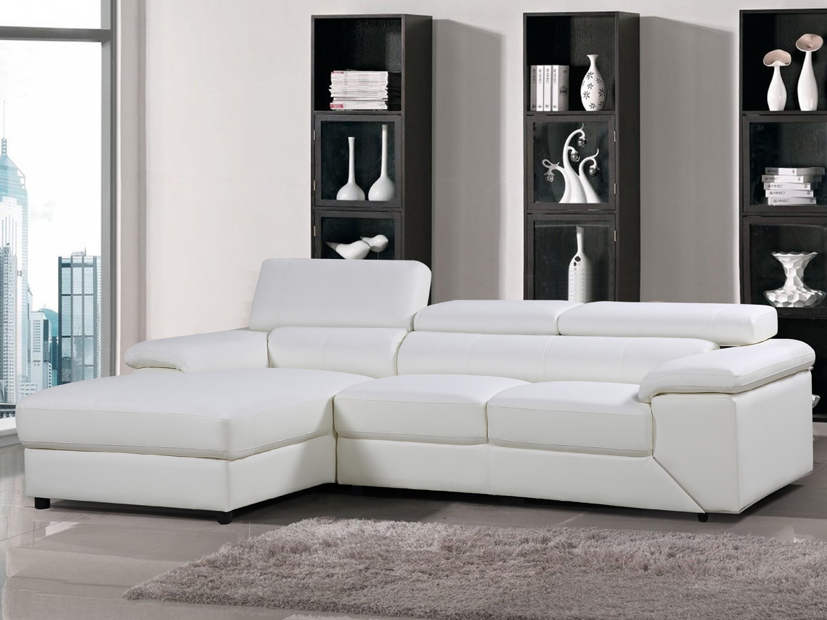 canap d 39 angle cuir reconstitu pvc london 4 places blanc. Black Bedroom Furniture Sets. Home Design Ideas