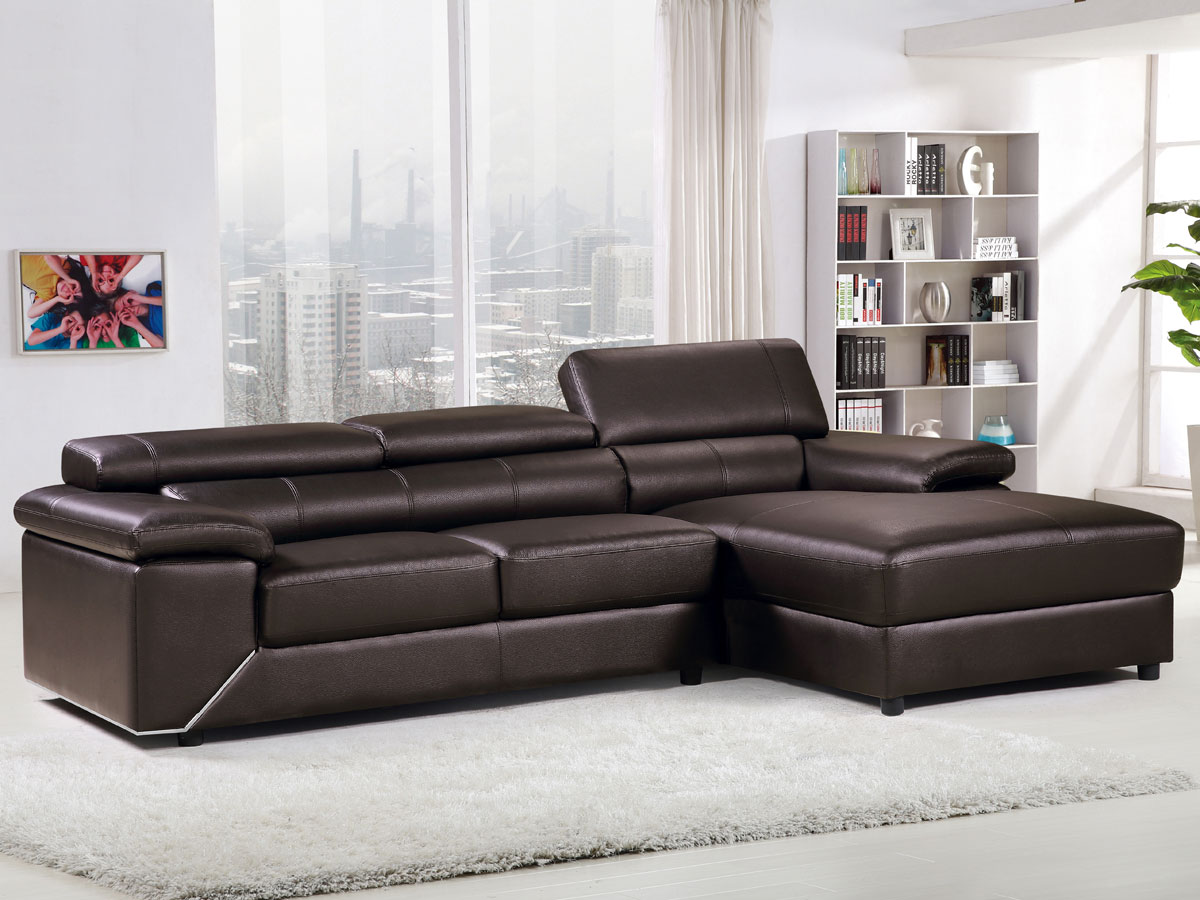 canap d 39 angle cuir pvc london 4 places chocolat angle droit. Black Bedroom Furniture Sets. Home Design Ideas