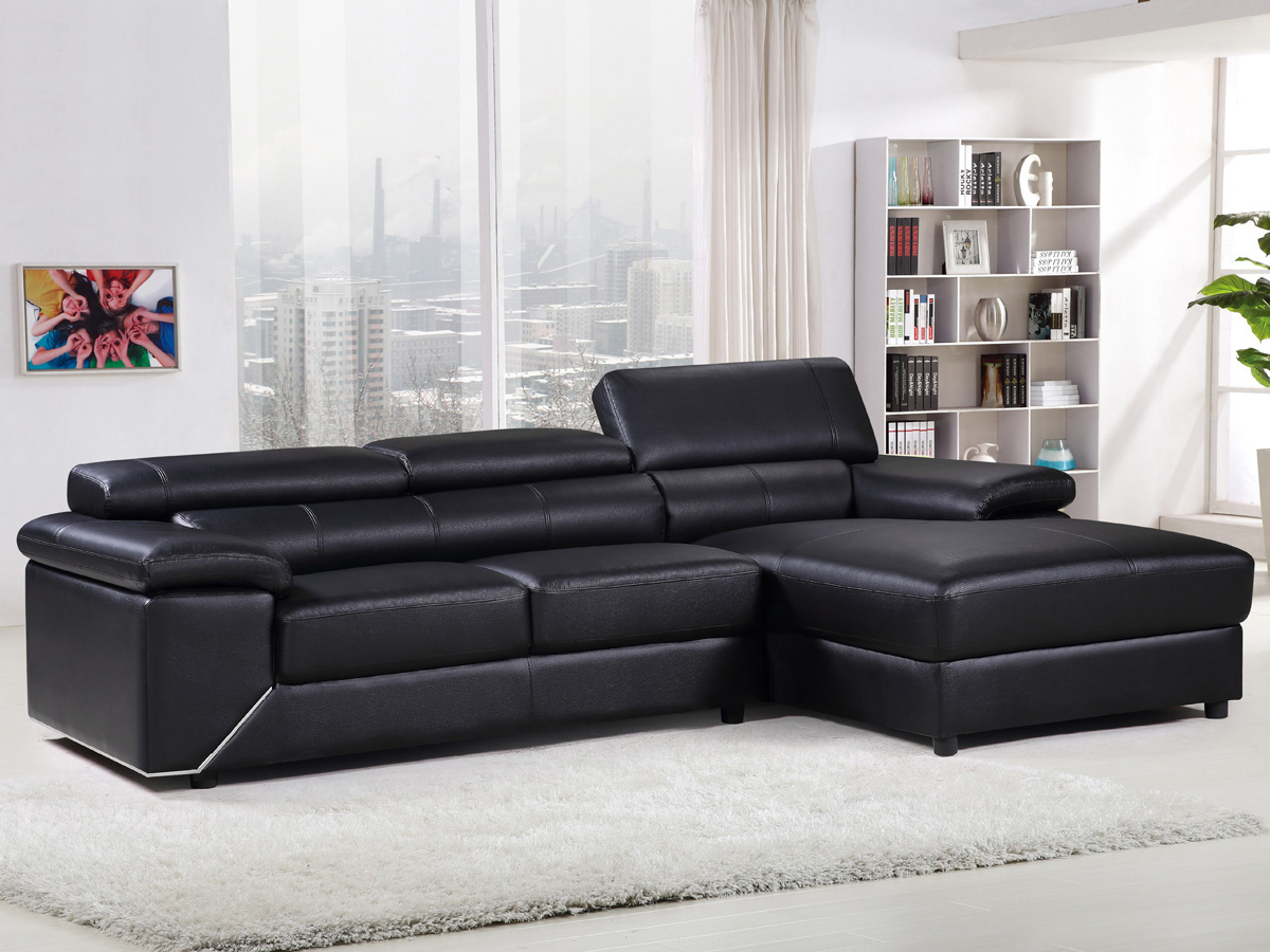 canap d 39 angle cuir reconstitu pvc london 4 places. Black Bedroom Furniture Sets. Home Design Ideas