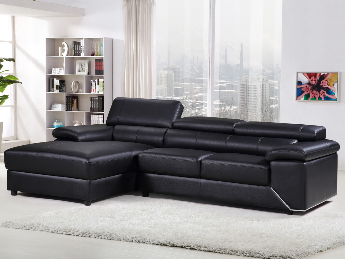 canap d 39 angle en cuir reconstitu pvc london 4 places. Black Bedroom Furniture Sets. Home Design Ideas