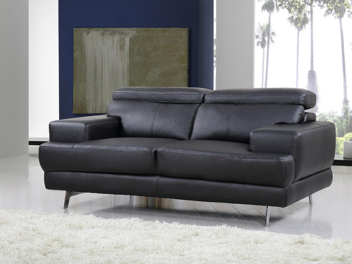 Canapé cuir/PVC - VENISE - 2 places - Noir