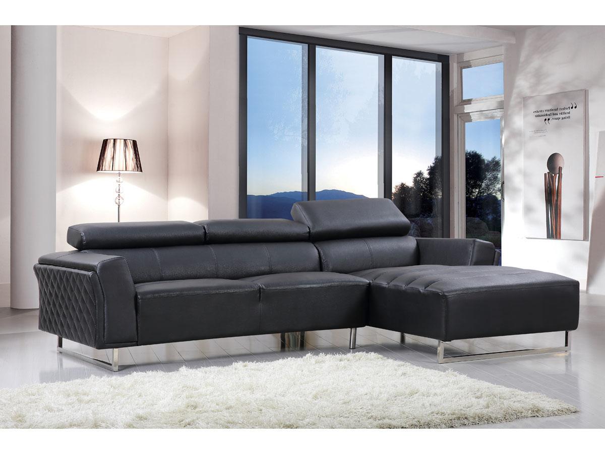 Canapé d'angle cuir reconstitué/PVC Broadway - 4 places - Noir - Angle droit
