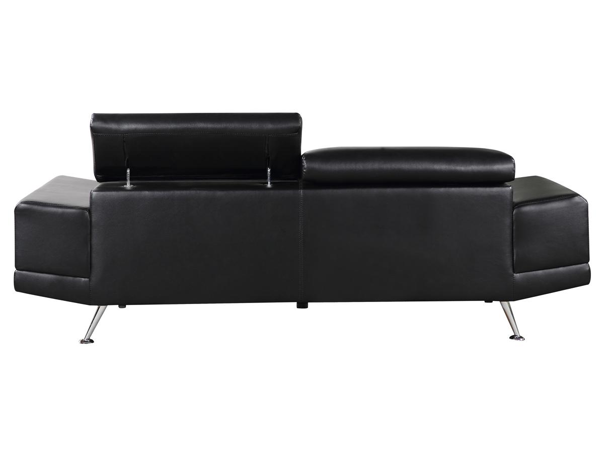 canape oxford cuir 2 places noir ebay. Black Bedroom Furniture Sets. Home Design Ideas
