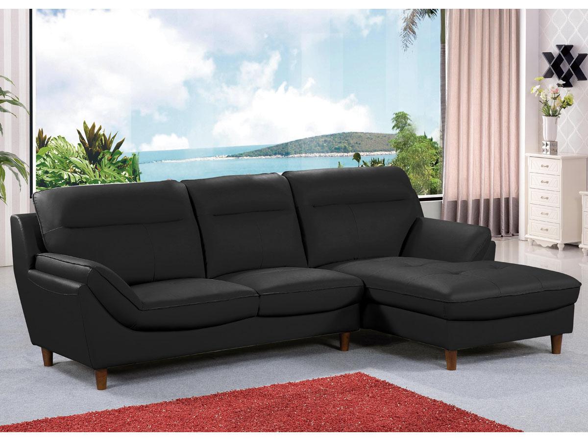 Canapé d'angle cuir reconstitué/pvc Ronald - 4 places - Noir - Angle droit