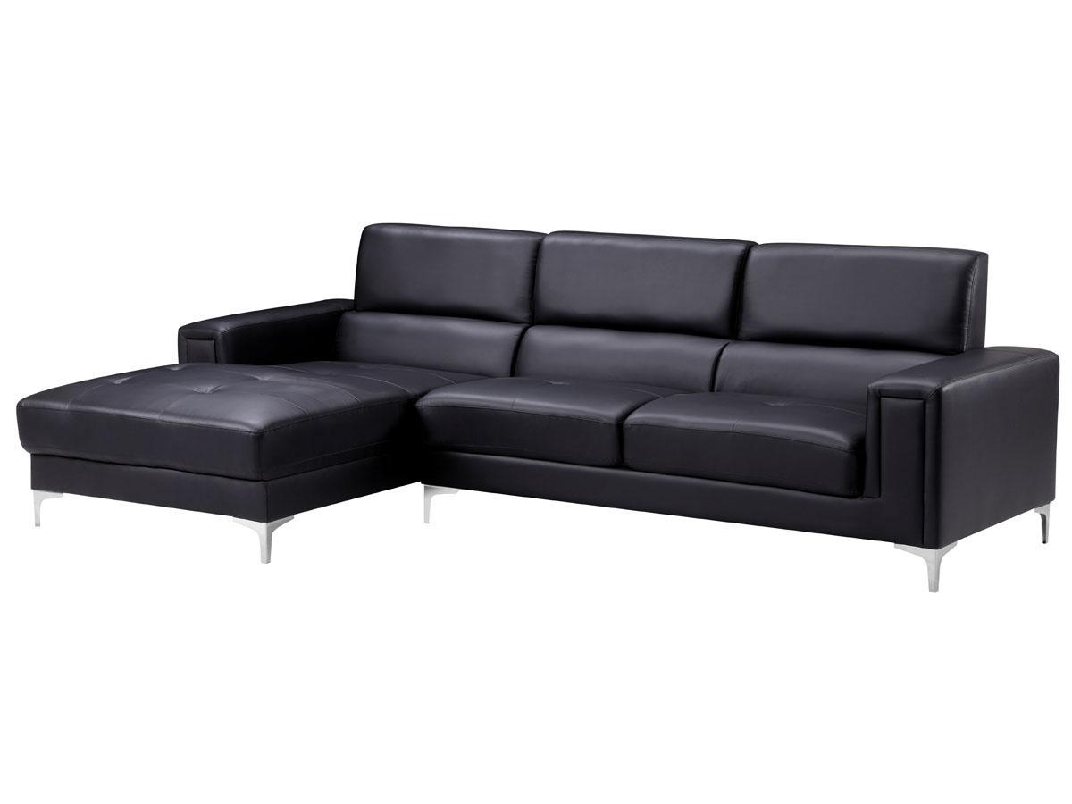 Canapé cuir reconstitué/pvcEliana - 4 places - Noir - Angle Gauche
