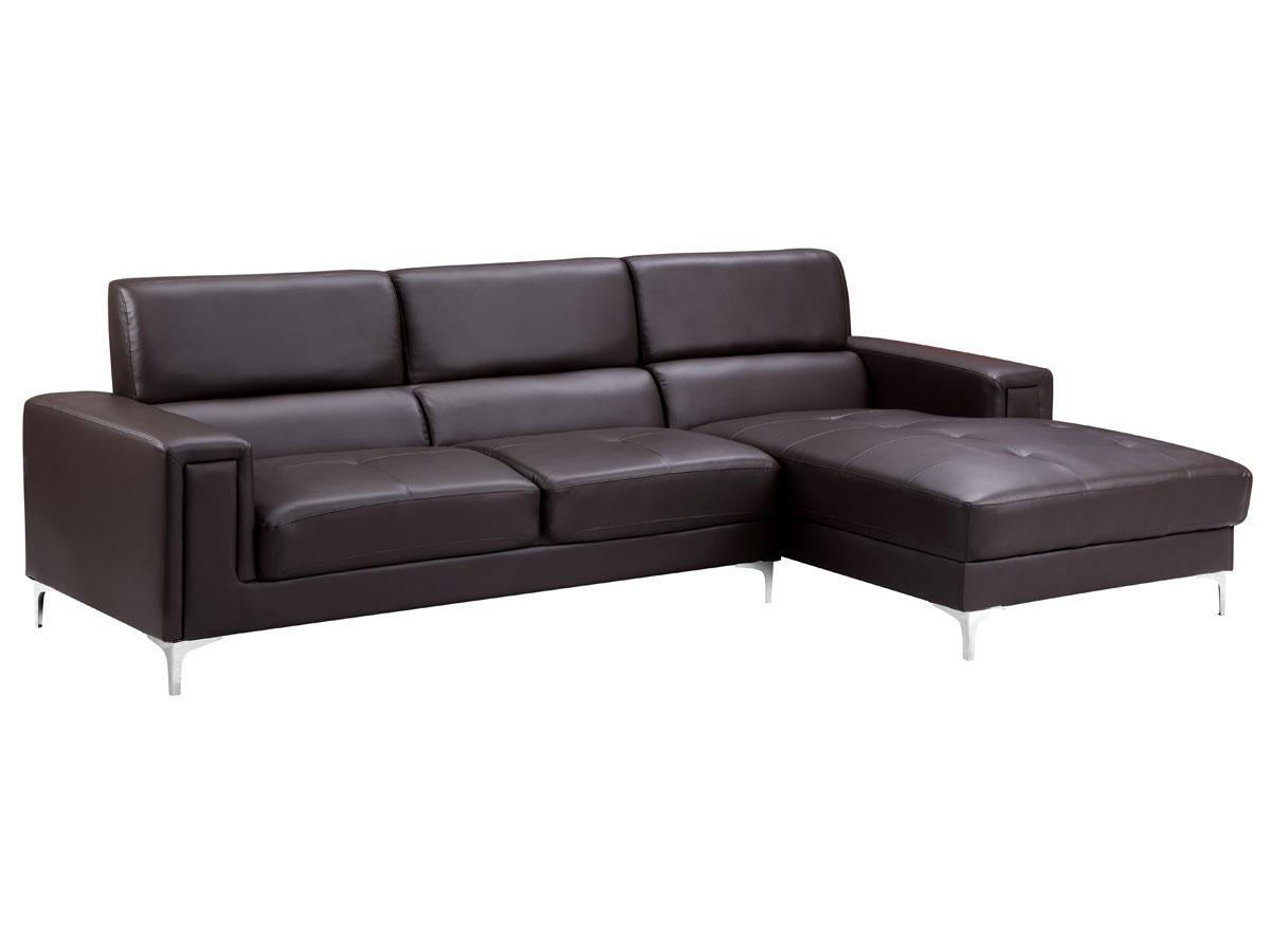 canap cuir reconstitu pvc eliana 4 places chocolat angle droit 86330 86333. Black Bedroom Furniture Sets. Home Design Ideas