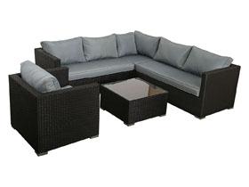 Salon de jardin en résine tressée Auckland - 1 canapé d'angle + 1 fauteuil + 1 table basse