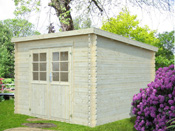 """Abri jardin bois """"Venise"""" - 9 m² - 3.00 x 3.02 x 2.14 m - 28 mm"""