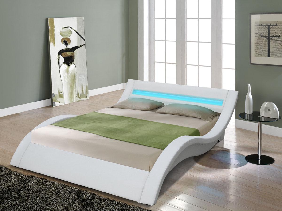 lit led barbara 140 x 190 cm blanc 81407 81408. Black Bedroom Furniture Sets. Home Design Ideas