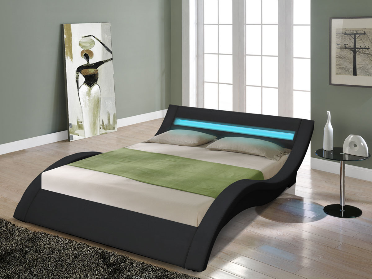 lit led barbara 160 x 200 cm noir 81407 81411. Black Bedroom Furniture Sets. Home Design Ideas