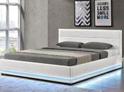 "Lit coffre LED ""Anastasia"" - 140 x 190 cm - Blanc"