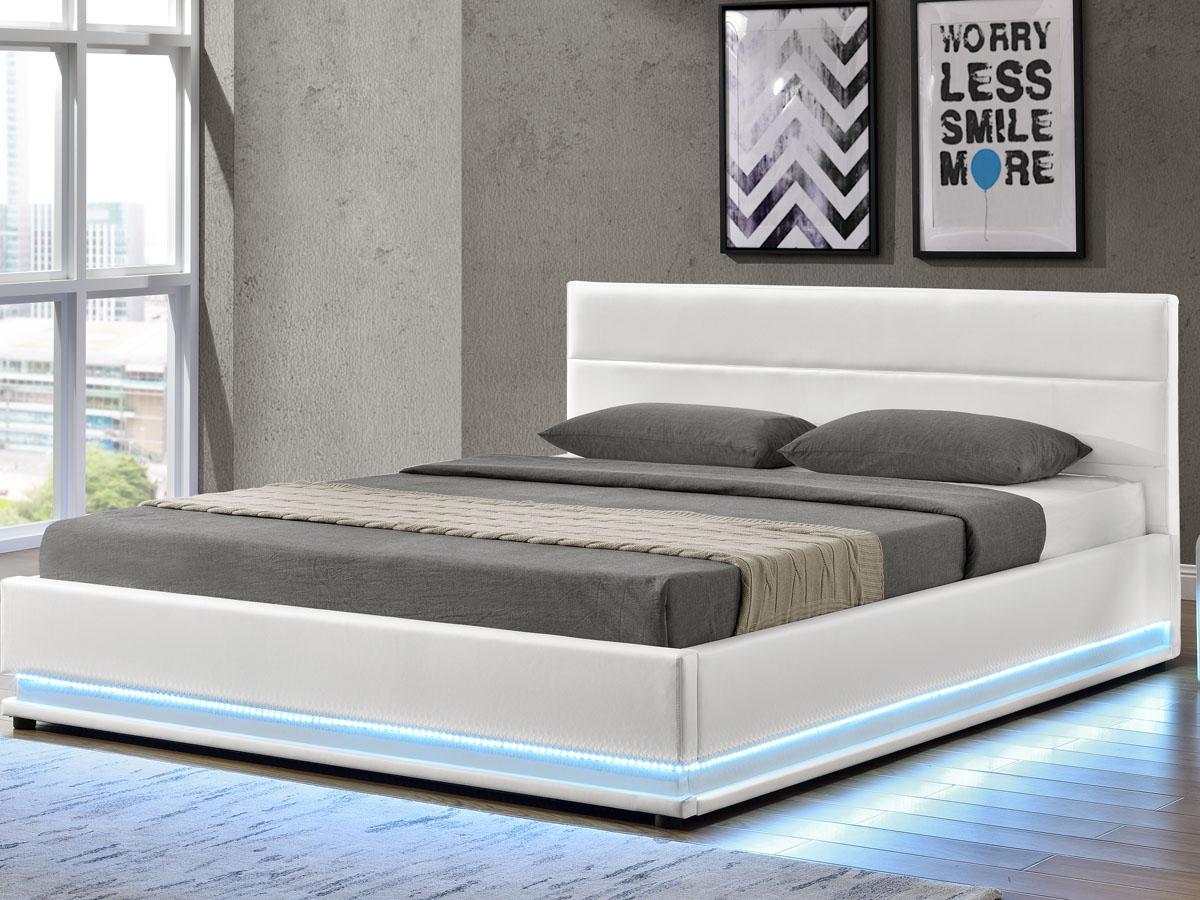 lit coffre led anastasia 140 x 190 cm blanc 94021 94023. Black Bedroom Furniture Sets. Home Design Ideas
