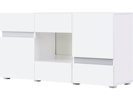 "Buffet LED ""Volta"" - 140 x 40 x 72 cm - Blanc laqué"