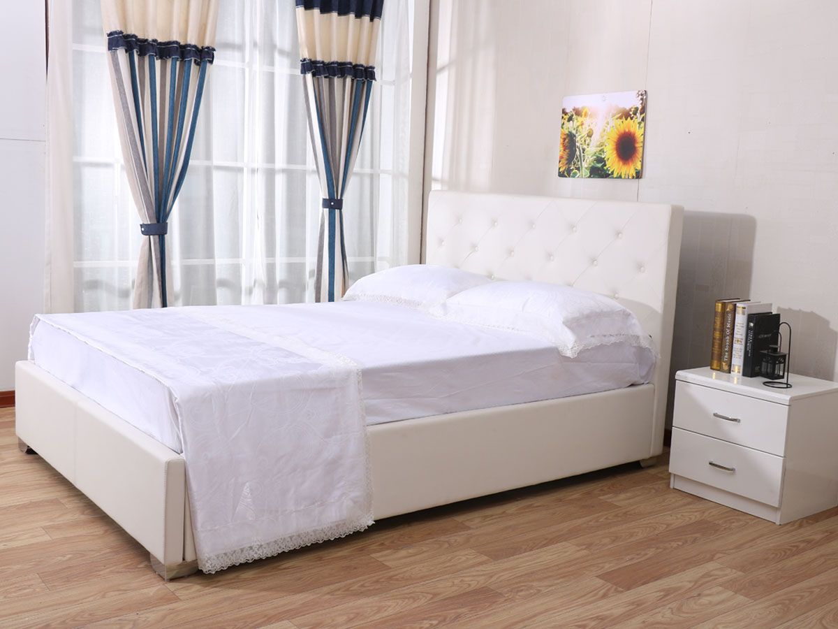 lit tino 140 x 200 cm blanc 85397 85398. Black Bedroom Furniture Sets. Home Design Ideas