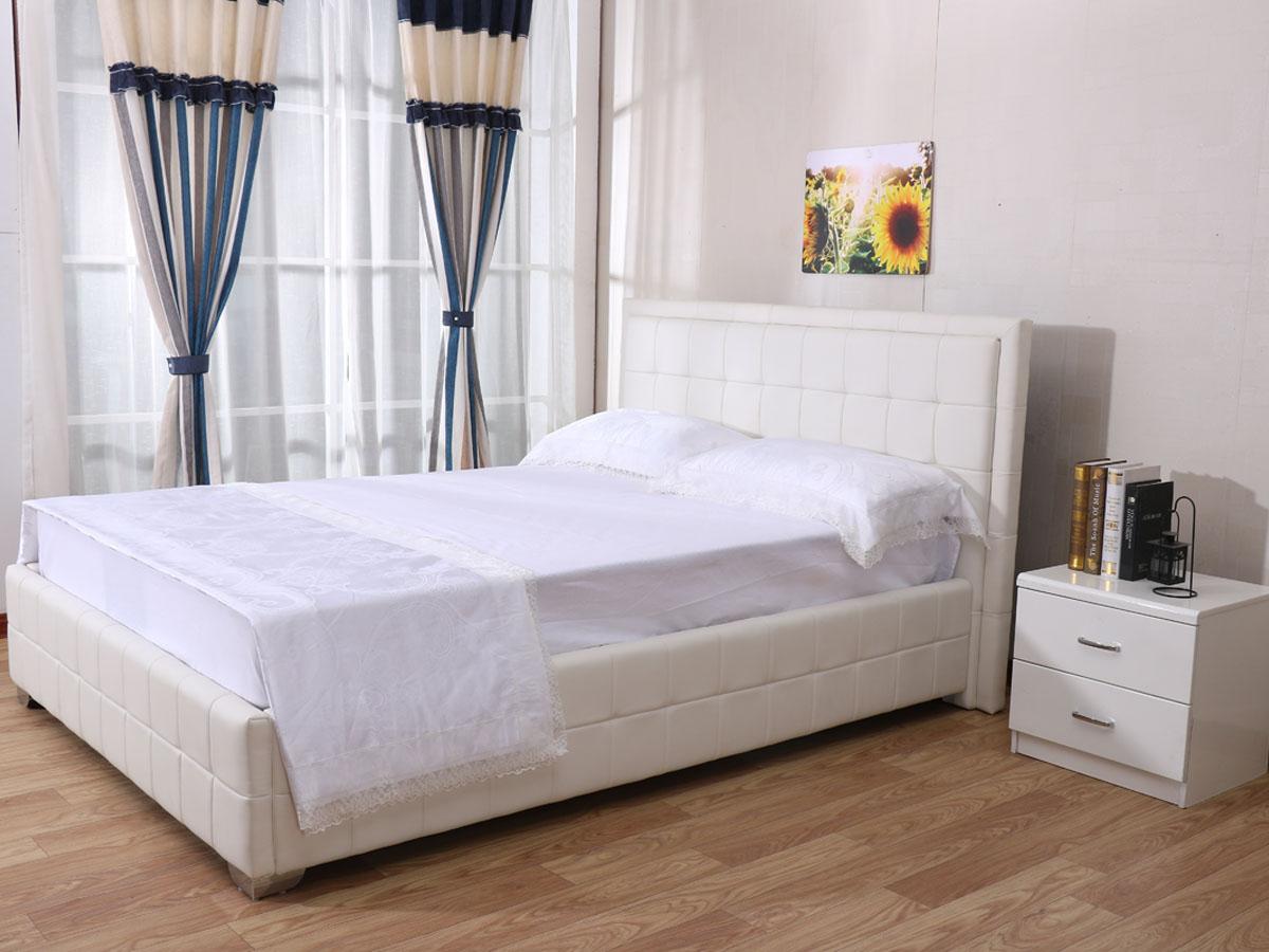 Lit double Alex - 140 x 200 cm - Blanc