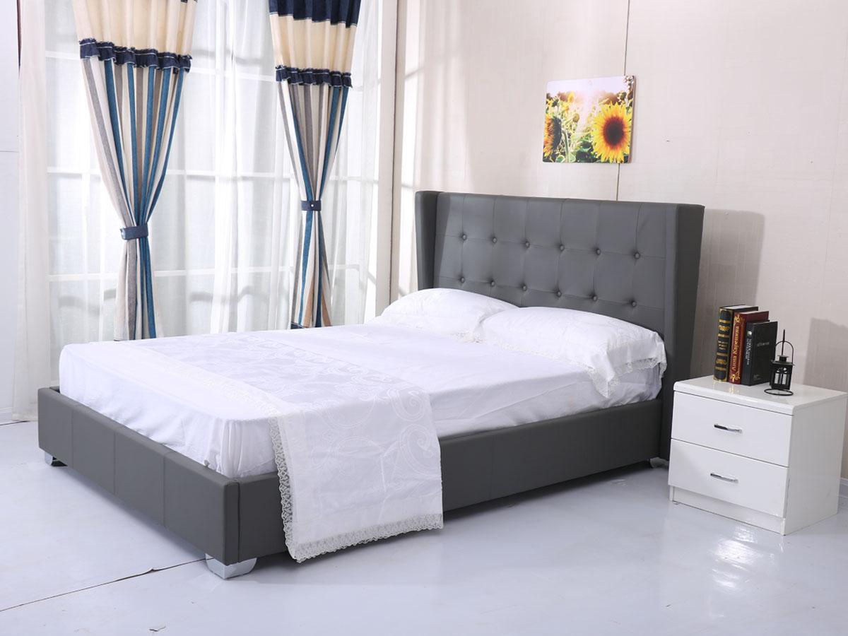 lit steven 140 x 200 cm gris 85406 85408. Black Bedroom Furniture Sets. Home Design Ideas
