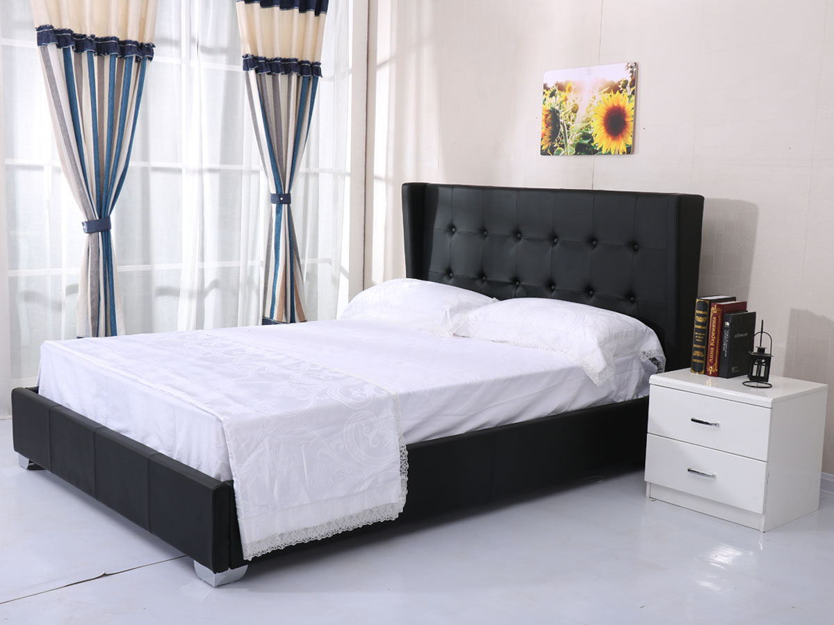 lit steven 140 x 200 cm noir 85406 85409. Black Bedroom Furniture Sets. Home Design Ideas