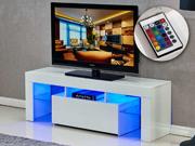 Meuble TV LED  Borda  - 130 x 34 x 45 cm - Blanc laqué