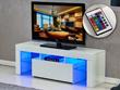 "Meuble TV LED ""Borda"" - 130 x 34 x 45 cm - Blanc laqué"