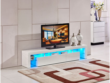 "Meuble TV LED ""Tina"" - 188 x 34 x 38 cm - Blanc"