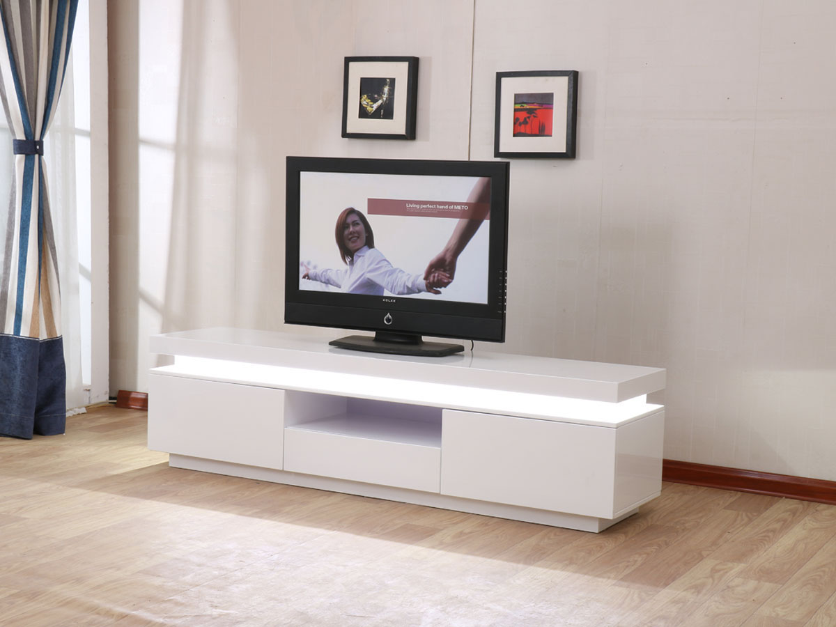 Meuble Tv Led Ruth 170 X 40 X 45 5 Cm Blanc Laqu 85390 # Meuble Tv Integre Cheminee