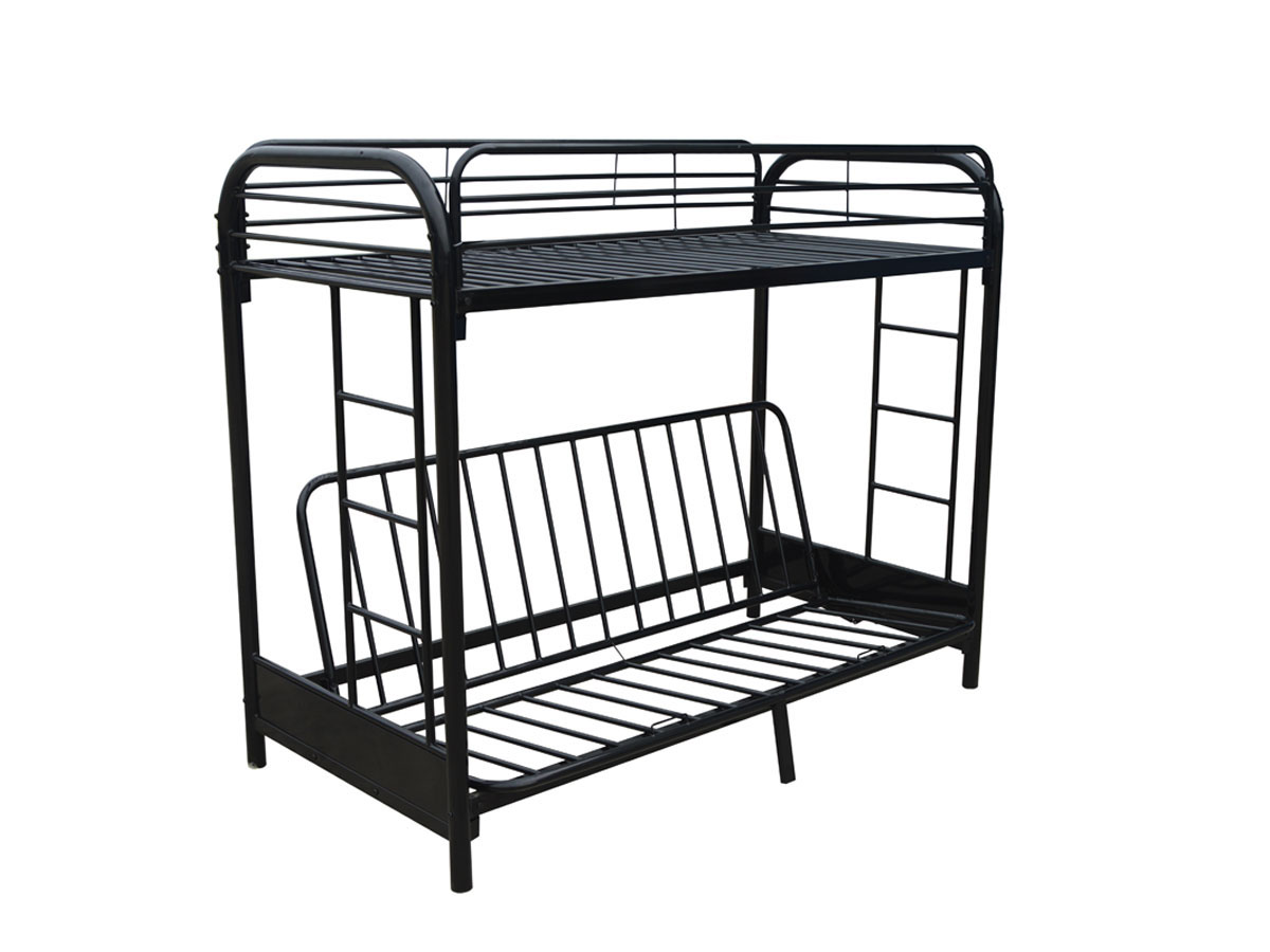 lit mezzanine polo m tal noir ebay. Black Bedroom Furniture Sets. Home Design Ideas