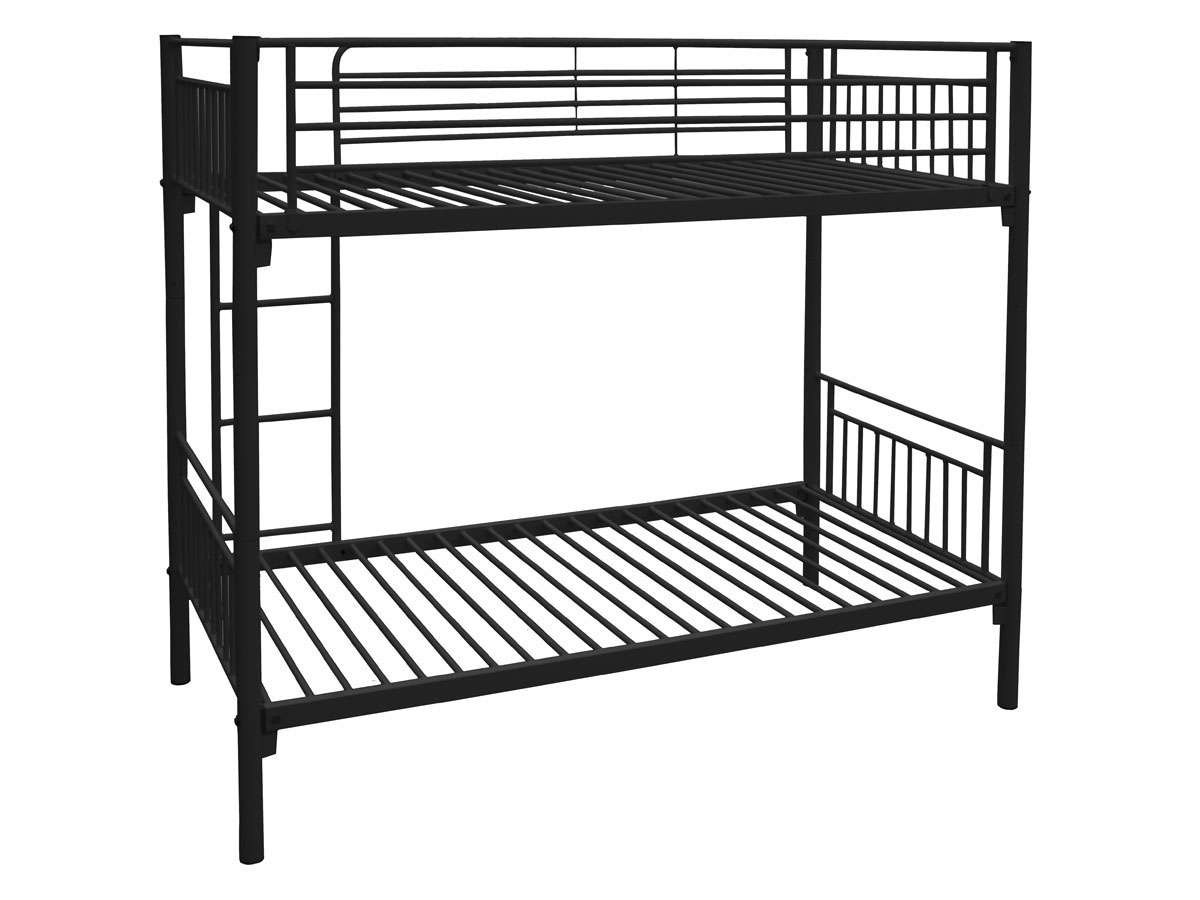 lit superpos adam m tal noir 85567. Black Bedroom Furniture Sets. Home Design Ideas