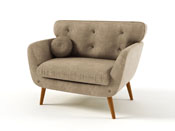 "Fauteuil tissu ""Scandi"" -  Gris taupe"