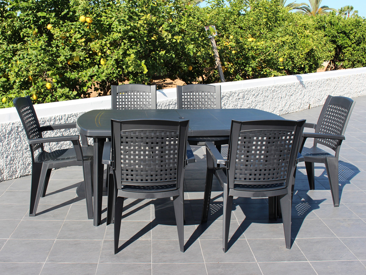 salon de jardin repas atlantic anthracite 89575. Black Bedroom Furniture Sets. Home Design Ideas