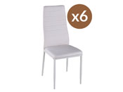 "Lot de 6 chaises ""Lina"" - Blanc"
