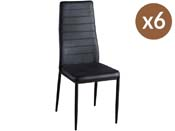 "Lot de 6 chaise ""Lina"" - Noir"