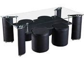 "Table basse ""Julia""+ 4 poufs - 126 x 64 x 49 cm - Noir"