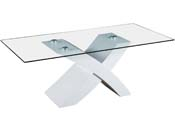 "Table basse rectangulaire ""Tina"" en MDF laqué - Blanc"