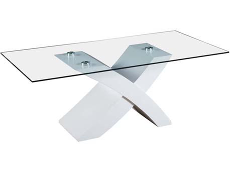 "Table basse rectangulaire ""Tina"" en MDF laqué - Blanc"