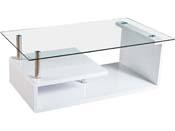 "Table basse ""Karine"" - 120 x 65 x 42 cm - Blanc laqué"