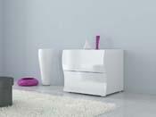 "Chevet ""Onda"" - 2 tiroirs - 50 x 39,5 x 41 cm - blanc laqué"