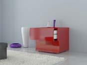 "Chevet ""Onda"" - 2 tiroirs - 50 x 39,5 x 41 cm - rouge laqué"