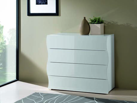 "Commode ""Onda"" - 4 tiroirs - 98 x 39,5 x 81,5 cm - blanc laqué"