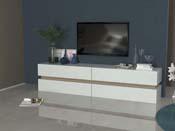 Meuble TV Athena - blanc /chêne sanremo light - 4 tiroirs