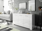 "Buffet ""Ambre"" -  144 x 42 x 80 cm - Blanc brillant"