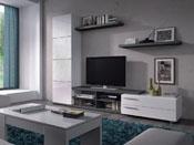 """Meuble TV """"Adina"""" - 41 x 240 x 180  cm - Blanc brillant / Gris cendré"""