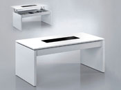 "Table basse "" Kendy "" - 102 x 50 x 43 cm - Blanc brillant"