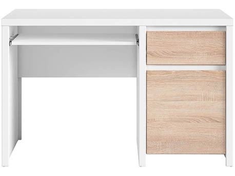 "Bureau "" Kaspian ""  - 120 x 65 x 77 cm -  Blanc / Chêne clair"