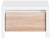 """Chevet """" Kaspian """" - 51 x 40.5 x 33.5 cm - Blanc / Chêne clair"""