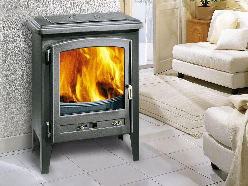 poele a bois en fonte ecoval 13 kw 37283. Black Bedroom Furniture Sets. Home Design Ideas