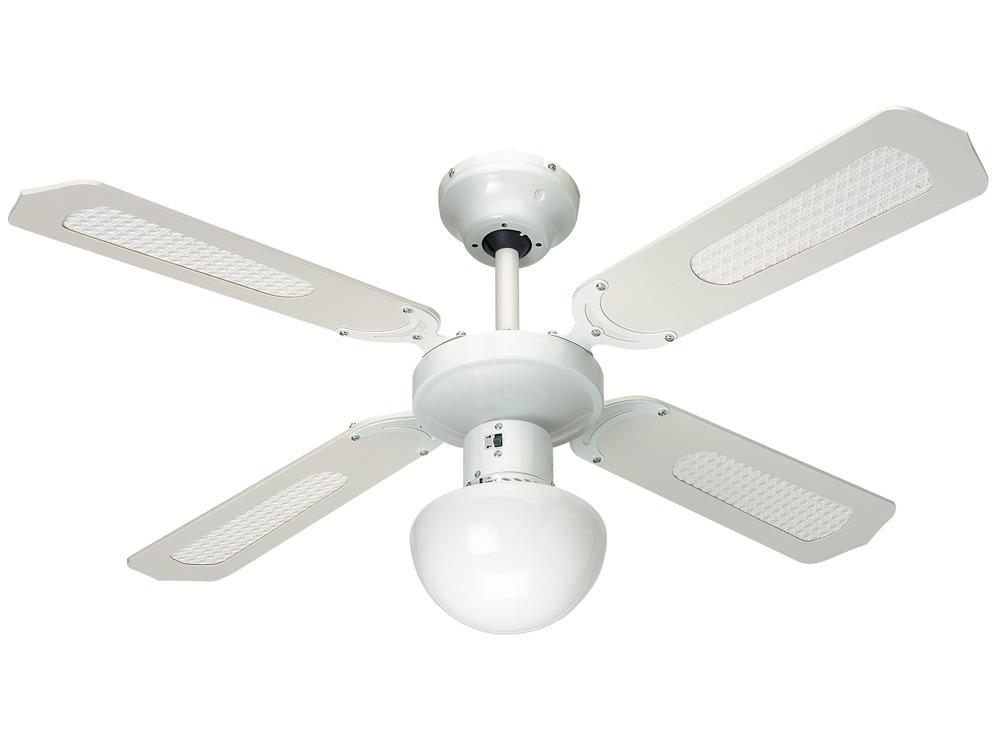 Ventilateur de plafond Bali Ø 107 cm, 4 pales blanches/cannées blanches + éclairage