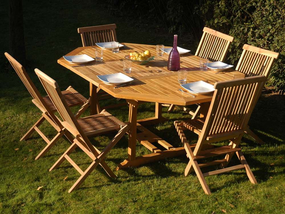 Table de jardin teck table ronde jardin | Maisonjoffrois