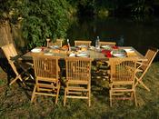 """Salon de jardin """"St-Lucie"""" en teck 8-10 personnes - Table 180/240 x 100 x 75 cm + 6 chaises + 2 fauteuils"""